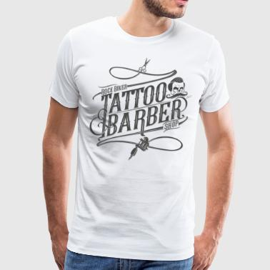 Rock Biker Tattoo & Barber Shop (Grey Print) - Mannen Premium T-shirt