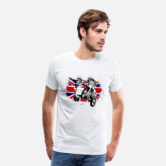 Motocross Camisetas - Sidcar Moto Cross Racing - Union Jack Flag - Camiseta premium hombre blanco