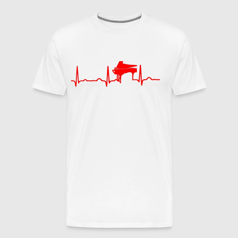 ECG HEARTBEAT PIANO red - Men's Premium T-Shirt