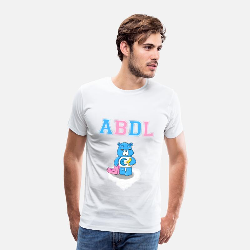 Adult T-Shirts - ABDL DDLG Fry Little Ageplay Adult Baby - Men's Premium T-Shirt white