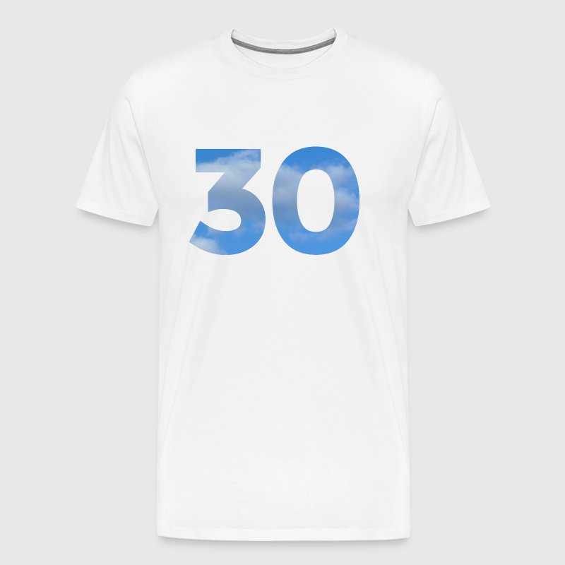 Number 30 Birthday Design with Clouds and Heaven - Men's Premium T-Shirt
