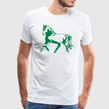 Proud, gathered horse in trot - Men's Premium T-Shirt