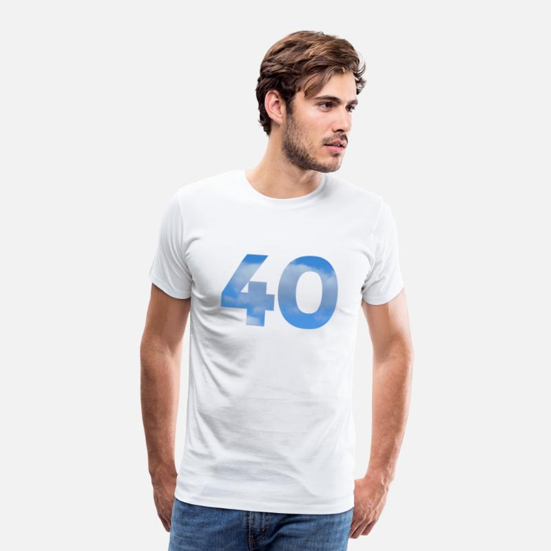 40 Years T-Shirts - Number 40 Birthday Design with Heaven and Clouds - Men's Premium T-Shirt white