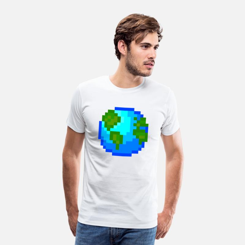 Earth Day T-shirts - World Planet Nature Pixel Pixelart Presentidé - Premium T-shirt herr vit