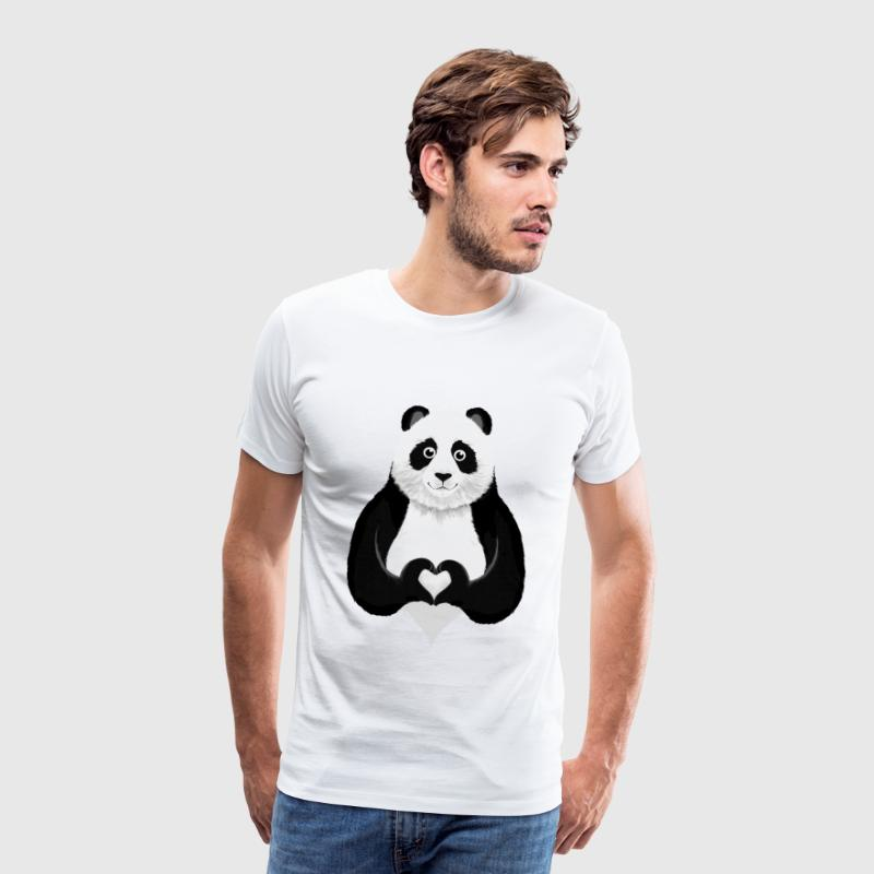 Cute Panda Heart Hand Sign - Mannen Premium T-shirt
