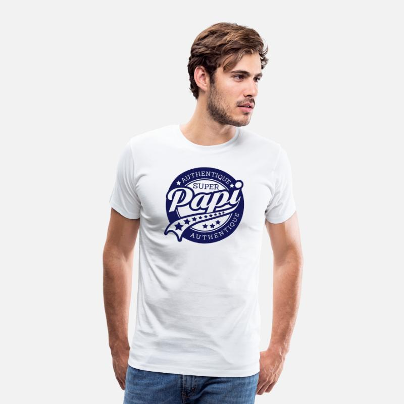 Humour T-shirts - authentique super papi - T-shirt premium Homme blanc