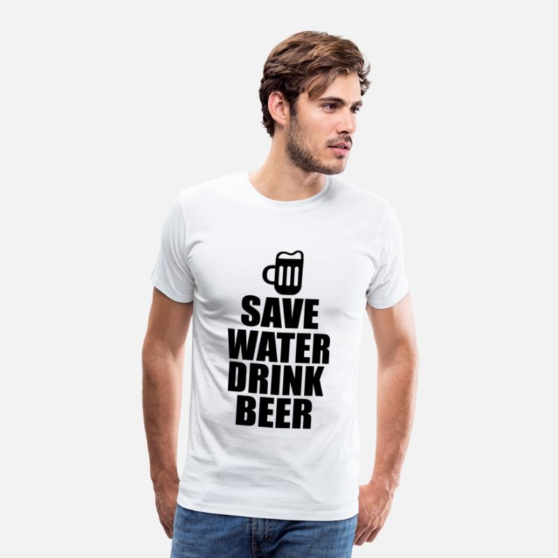 Alcool T-shirts - Alcool Fun Shirt - Save water drink beer - T-shirt premium Homme blanc