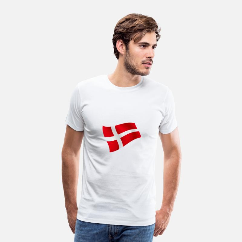 Hockey T-shirts - Danemark Dansk Copenhague flag flag Les couleurs nationales - T-shirt premium Homme blanc