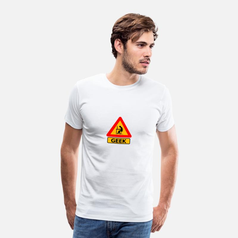Geek T-shirts - Attention Geek ! - T-shirt premium Homme blanc
