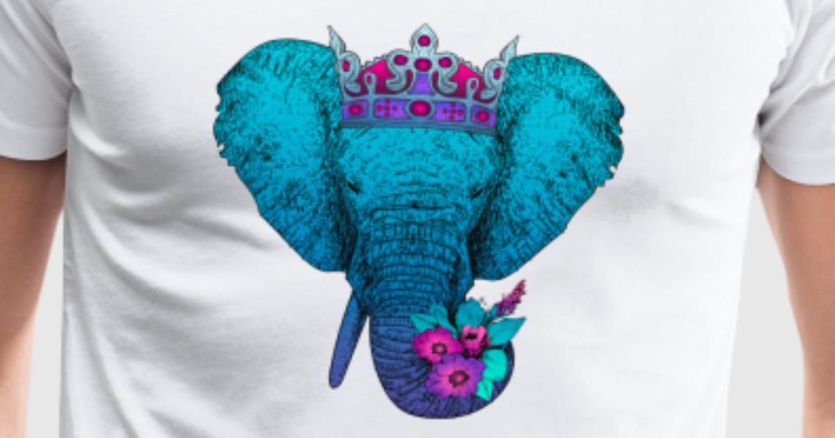 Elefant mit Blumen und Krone von ElCelo   Spreadshirt