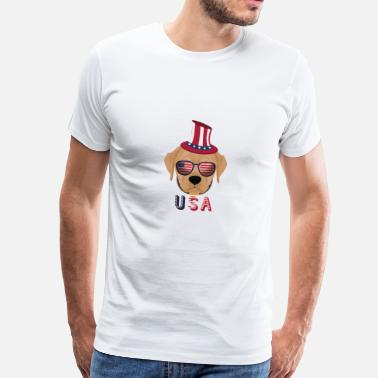Bulldog With Sunglasses USA dog with sunglasses bulldog - Men's Premium T-Shirt