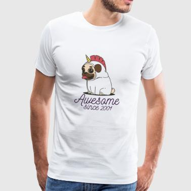 2001 Awesome sinds 2001 | Funny Unicorn Pug - Mannen Premium T-shirt