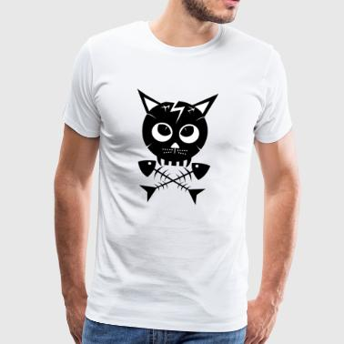 Cat Skull and Bones - Premium T-skjorte for menn