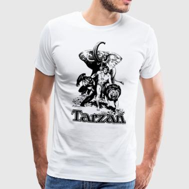 Elephant Tarzan Elephant Apes Lion Fight - Men's Premium T-Shirt