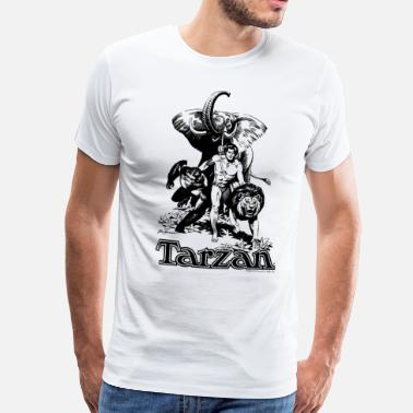 bb16d9b77cc1 Elephant Tarzan Elephant Apes Lion Fight - Men  39 s Premium T-Shirt