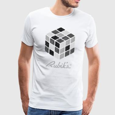 Rubik's Cube Black-And-White Print - Premium T-skjorte for menn