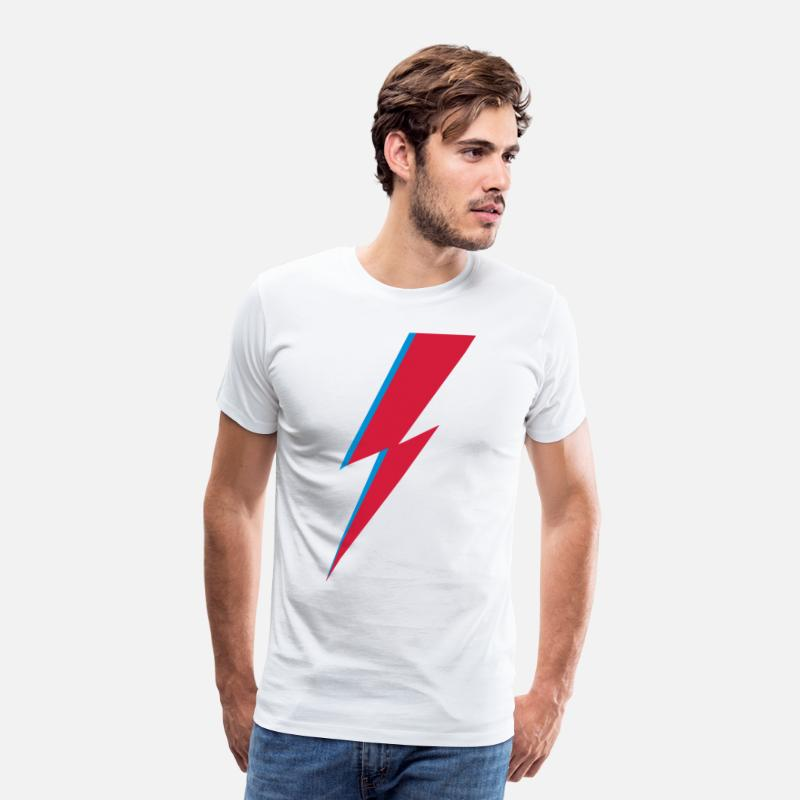 David T-Shirts - flash, music, rebel, Bowie, hero, space, blackstar - Men's Premium T-Shirt white