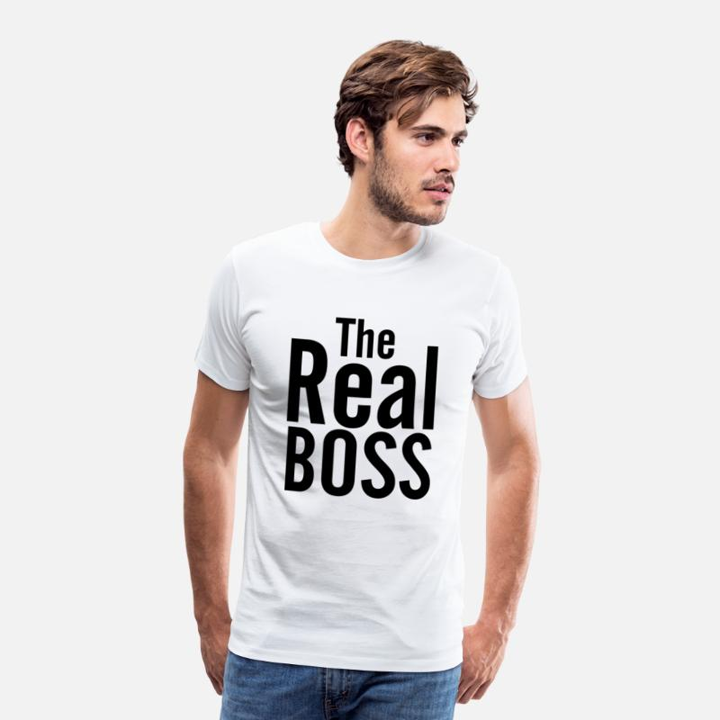 The Real Boss T-Shirts - THE REAL BOSS - Men's Premium T-Shirt white