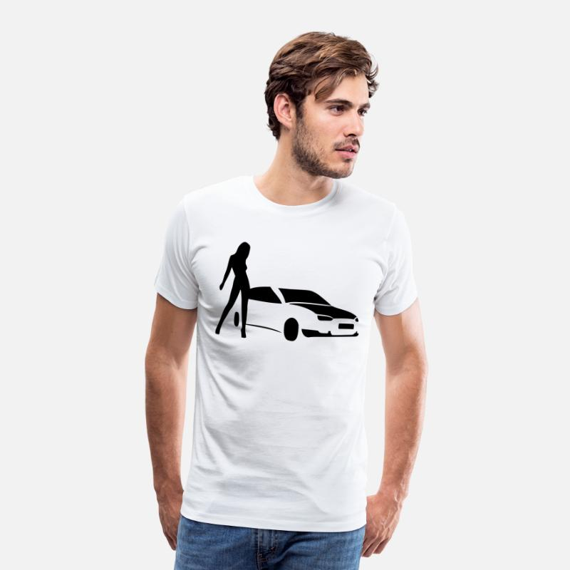 Shade T-Shirts - Cars and women Carwash sexy girl - Men's Premium T-Shirt white