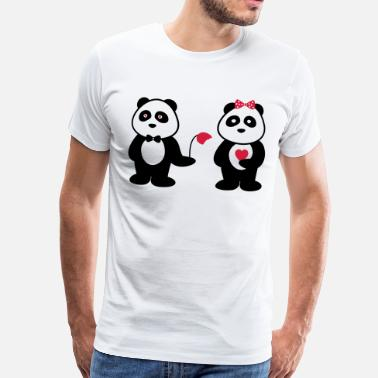 Panda Couple panda in love,Panda en couple - T-shirt Premium Homme