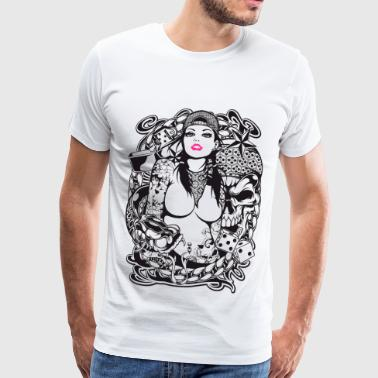 Tattooed Girl Rockabilly Tattoo Girl - Men's Premium T-Shirt