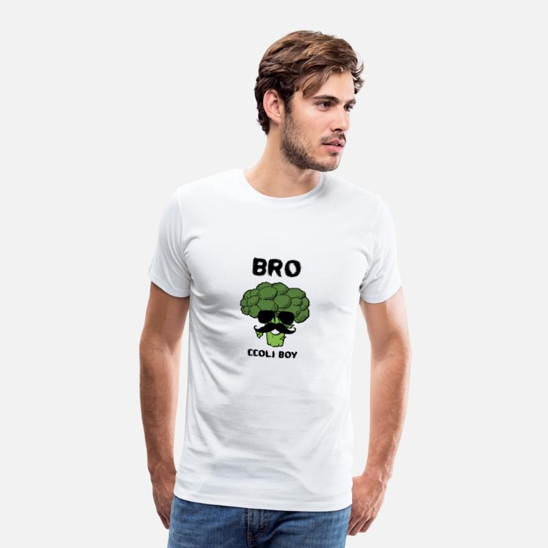 Broccoli T-Shirts - GIFT BROCCOLI BOY FITNESS VEGETABLE BROTHER - Mannen premium T-shirt wit