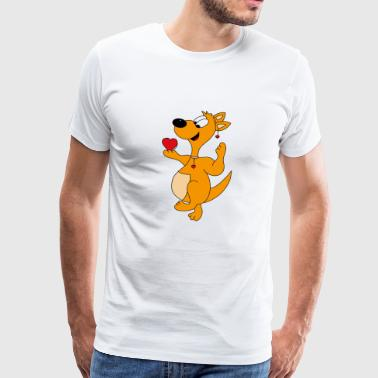 Cute kangaroo with little hearts - Men's Premium T-Shirt