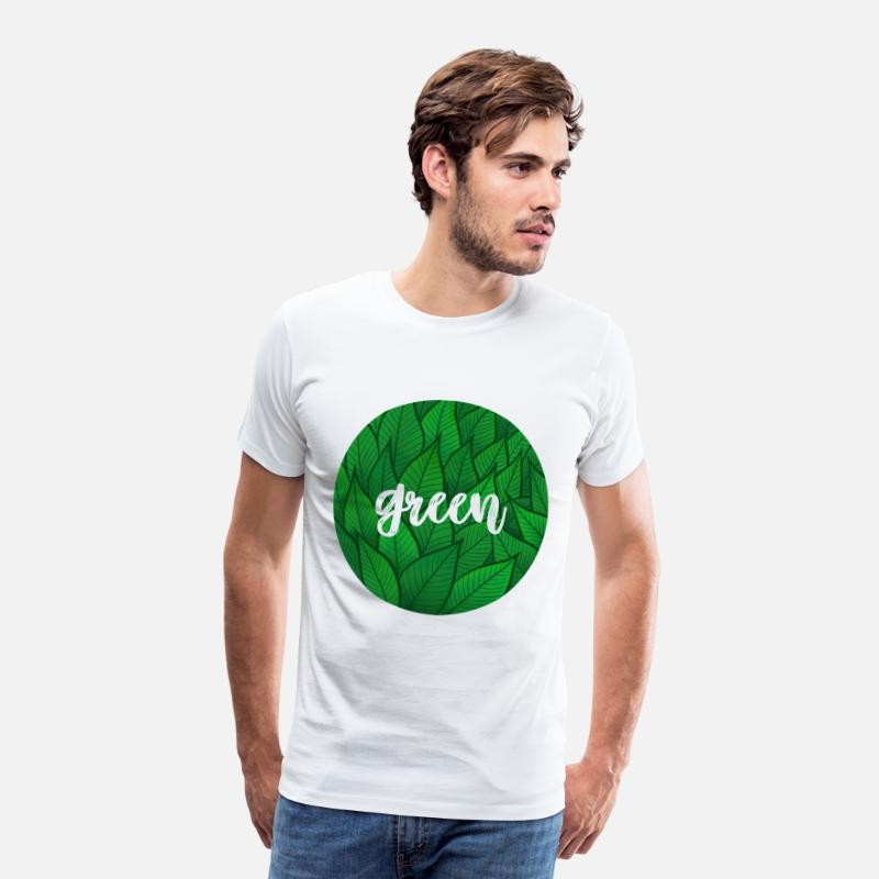 Nature Collection Camisetas - Círculo verde - follaje - Camiseta premium hombre blanco