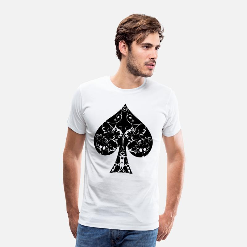 Piken T-Shirts - Spades Card Symbol Tribal Poker Ass Hold'em - Men's Premium T-Shirt white