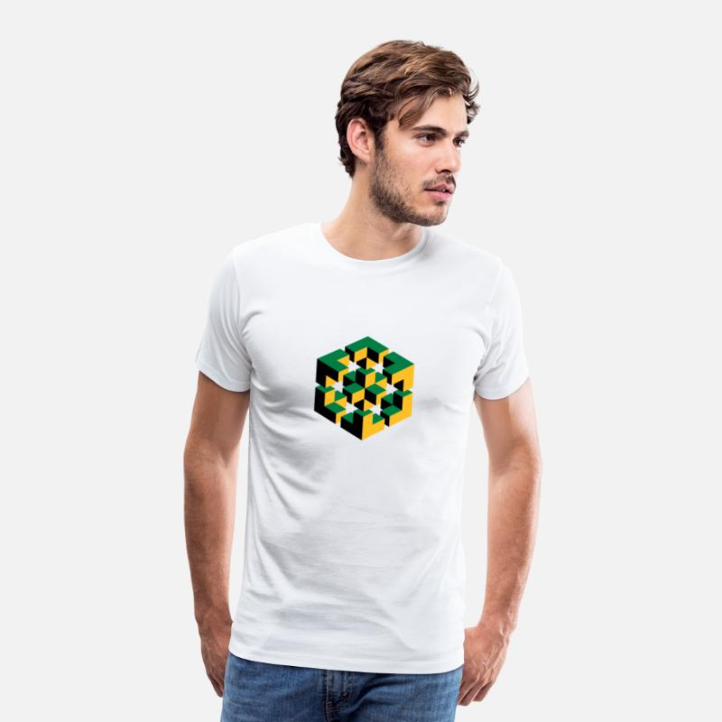 Big Bang T-shirts - Figure impossible imagination géométrie cube Escher - T-shirt premium Homme blanc
