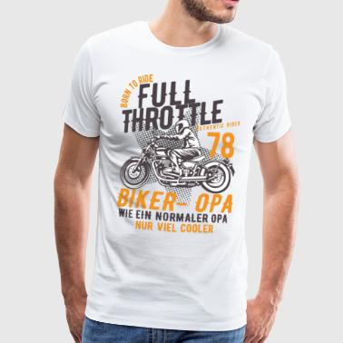 Biker - Grandpa riding a motorcycle chopper - Men's Premium T-Shirt