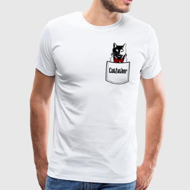 Cat Catfather i brystlomme - Premium T-skjorte for menn
