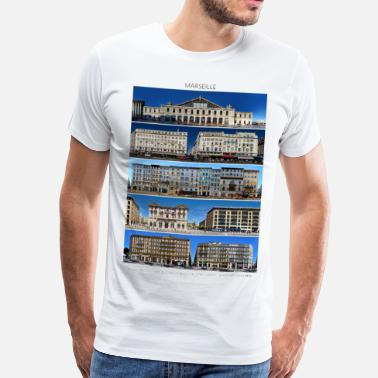 Cityscape Marseille Streetline Fronts - Men's Premium T-Shirt