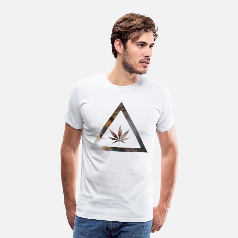 Milky Way T-Shirts - Galaxy Weed Cannabis Geometry Triangle - Men's Premium T-Shirt white