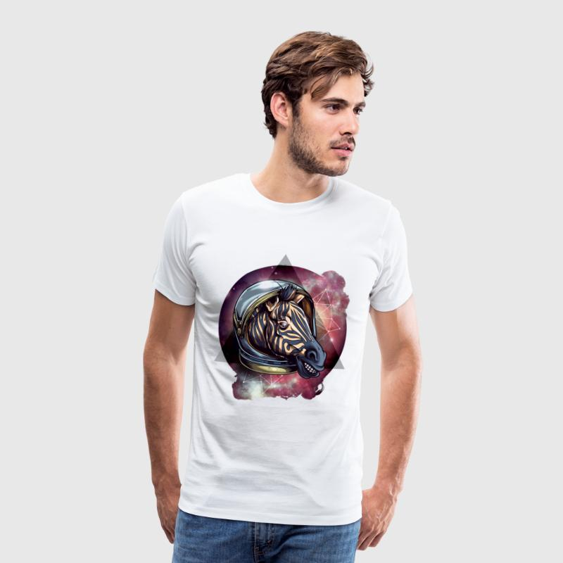 cool zebra in outer space, astronaut zebra in the ALL - Men's Premium T-Shirt