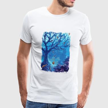 underwater aquarium sea fish lake coral - Men's Premium T-Shirt