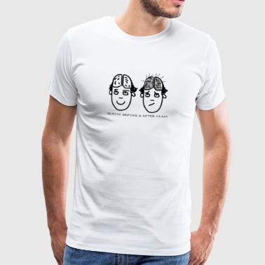 Brains before & after class, humorous, - Men's Premium T-Shirt