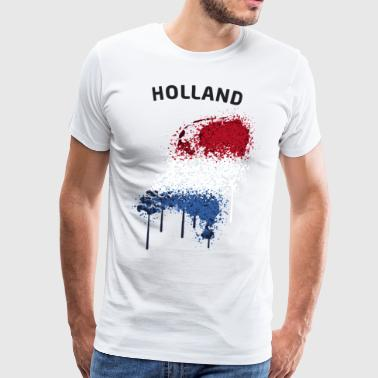 Holland Text Landkarte Flagge Graffiti - Männer Premium T-Shirt