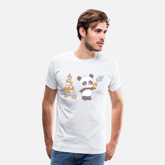 Baby T-Shirts - Panda with cart of cupcakes - Men's Premium T-Shirt white
