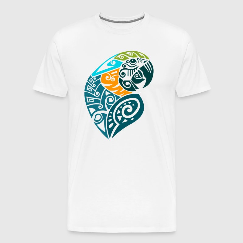 Blue and gold macaw tribal tattoo - Men's Premium T-Shirt