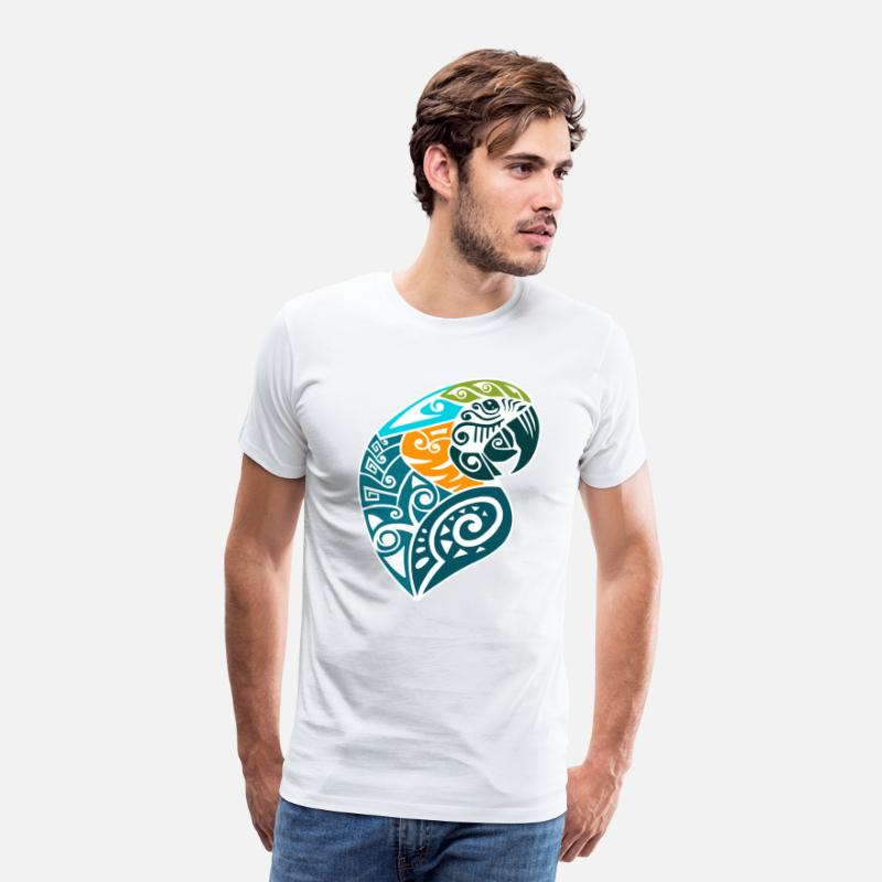 Parrot T-Shirts - Blue and gold macaw tribal tattoo - Men's Premium T-Shirt white