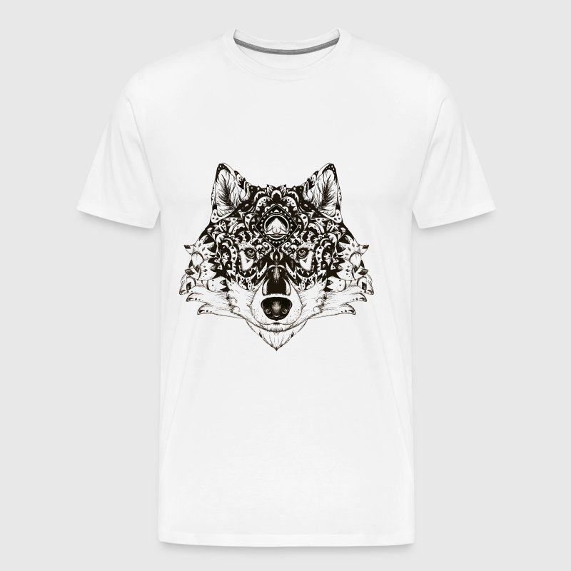 Loup Zentangle - T-shirt Premium Homme