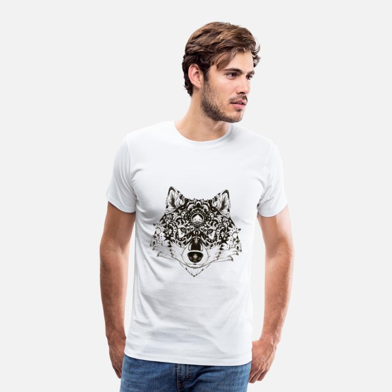 Bestsellers Q4 2018 T-shirts - Loup Zentangle - T-shirt premium Homme blanc