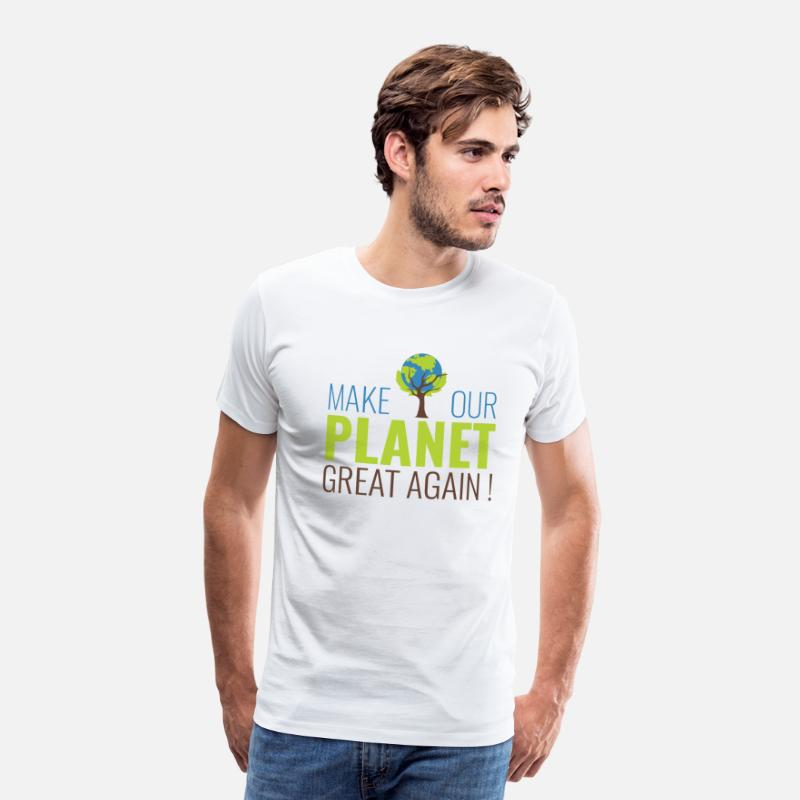 Planet T-shirts - Make our planet great again - T-shirt premium Homme blanc