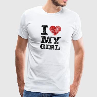 I Love my Girl vintage dark - Männer Premium T-Shirt