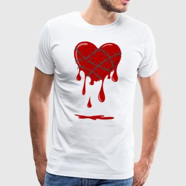 Bleeding Heart Barbed Wire - Premium T-skjorte for menn