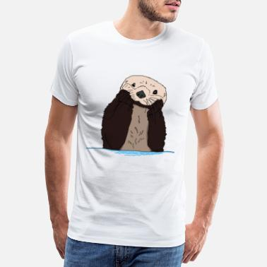 Fold cute and cute otter in Otter box gift - Men's Premium T-Shirt