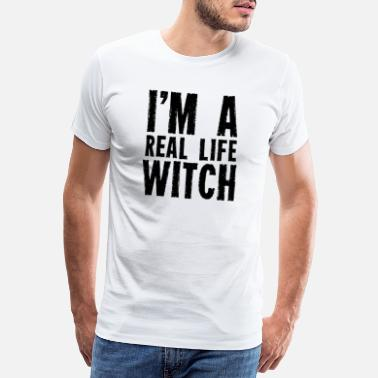 Wand I am a real witch witches witchcraft wizardry - Men's Premium T-Shirt