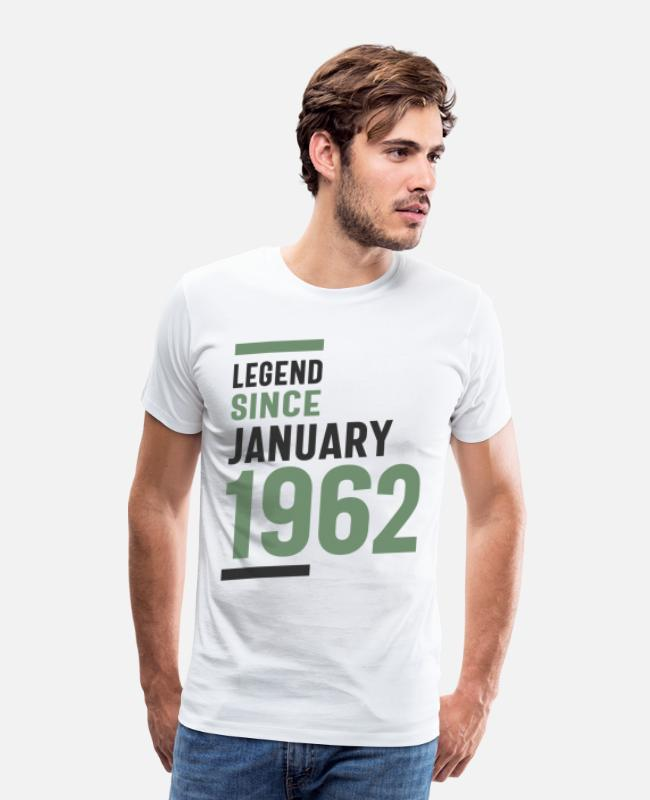 Jannis T-shirts - Legends werden geboren in januari 1962 - Mannen premium T-shirt wit