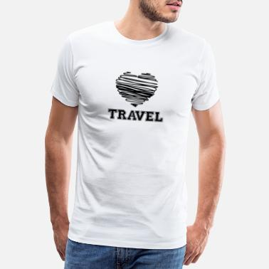 Toe Aan Vakantie Travel Heart - Backpacker Wanderlust - Mannen Premium T-shirt
